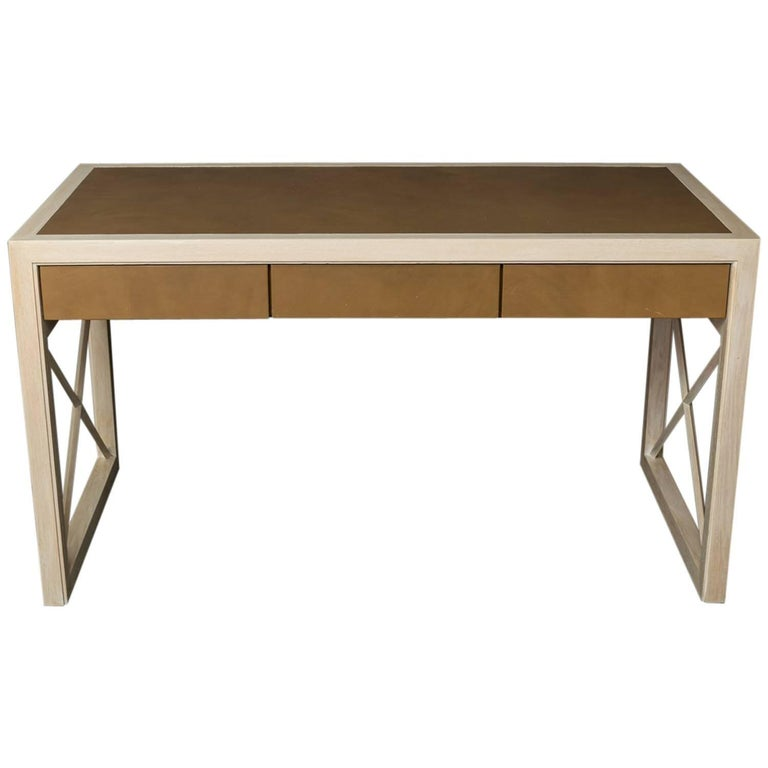 Pickled Oak and Leather Desk For Sale