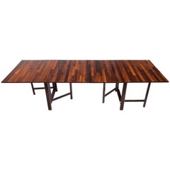 "Bruno Mathsson ""Maria"" Expandable Modern Rosewood Dining Table"