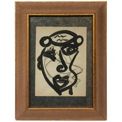 Peter Keil Expressionist Abstract Face Oil Painting