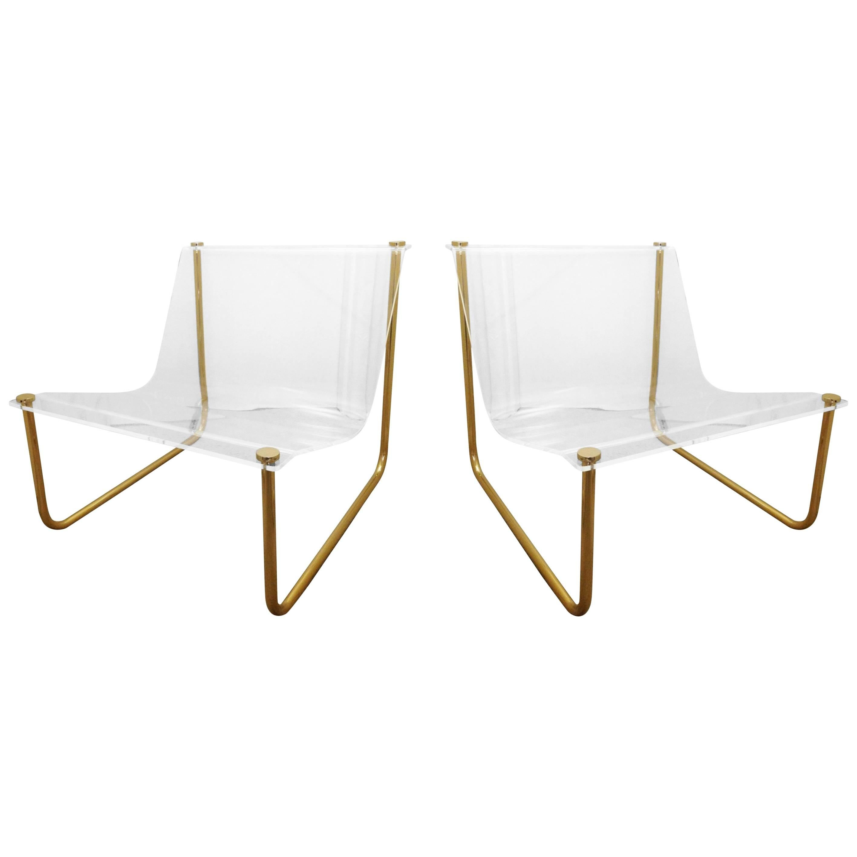 "Pair of Lucite and Brass ""Sling"" Lounge Chairs by Charles Hollis Jones"
