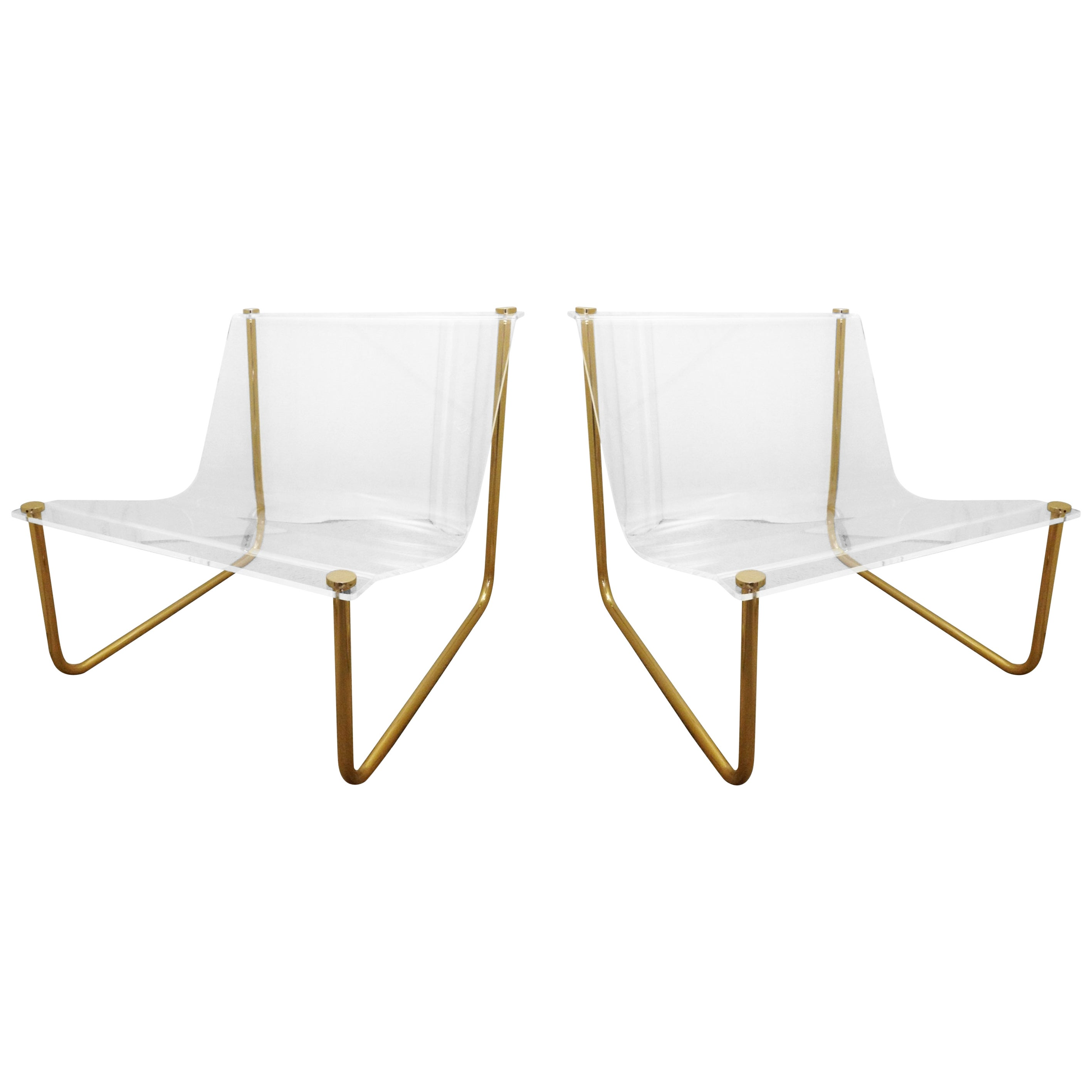 """Pair of Lucite and Brass """"Sling"""" Lounge Chairs by Charles Hollis Jones"""