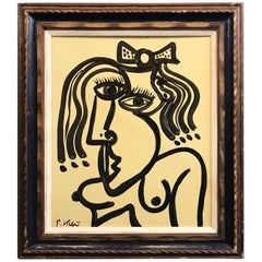 Peter Keil Expressionist Oil Portrait of a Nude Woman