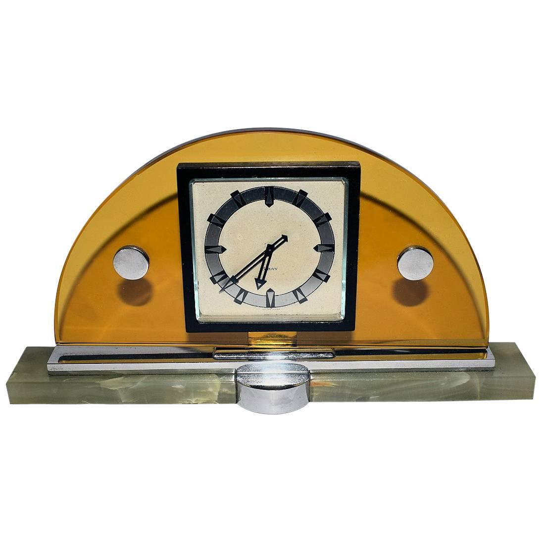 Modernist Art Deco Swiss Eight Day Mantle Clock, Swiss Made