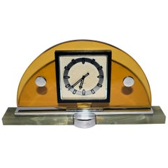 Modernist Art Deco Swiss Eight Day Mantle Clock, Swiss Made