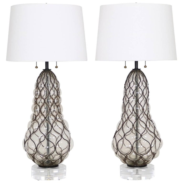 Marbro Hollywood Regency Caged Murano Glass Lamps