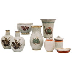 Danish Royal Copenhagen Midcentury Vases in Crackle Finish Porcelain, Signed