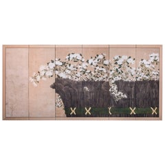 Japanese Six-Panel Screen, Chrysanthemums and Twig Fence