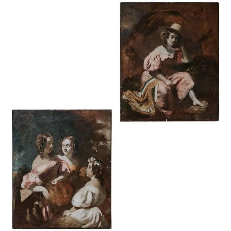 Pair of 18th Century Romantic Paintings