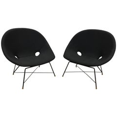 Pair of Black Reupholstered Augusto Bozzi Cosmos Lounge Chairs by Saporiti