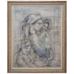Mother and Two Children Painting by Edna Hibel