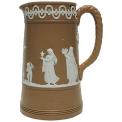 English White and Brown Neoclassical Jasperware Pottery Pitcher Vessel