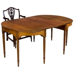 Sheraton Cherry Inlaid Banquet Table of Small Scale with Rope-Tuned Legs, 1815