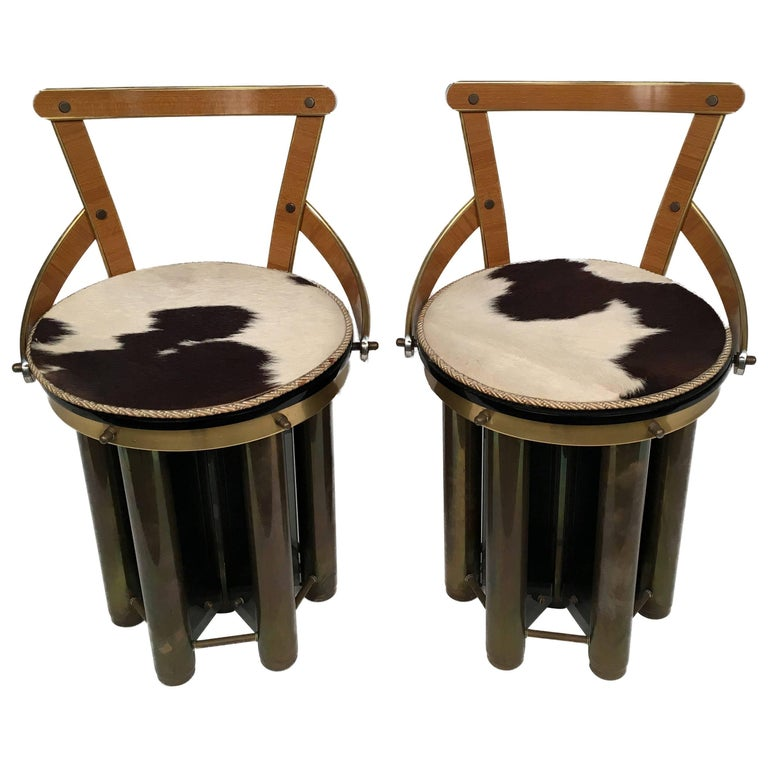 Pair of particular Mid-Century Modern stools made in Glass, Formica and Brass