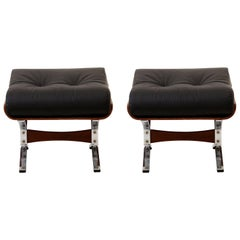 Tufted Spanish Leather Ottoman Pair