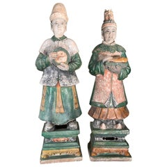 Important Pair Monumental Ancient China Ming Tomb Attendant Sculpture, 1368-1644