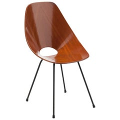 Vittorio Nobili Walnut Plywood and Brass Medea Chair