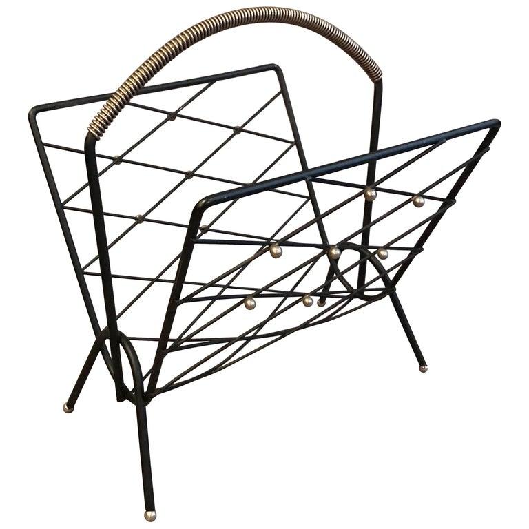 Mid-Century Modern Lattice Wrought Iron and Brass Magazine Rack