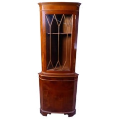 19th Century Mahogany Corner Vitrine In Cathedral Shape, France