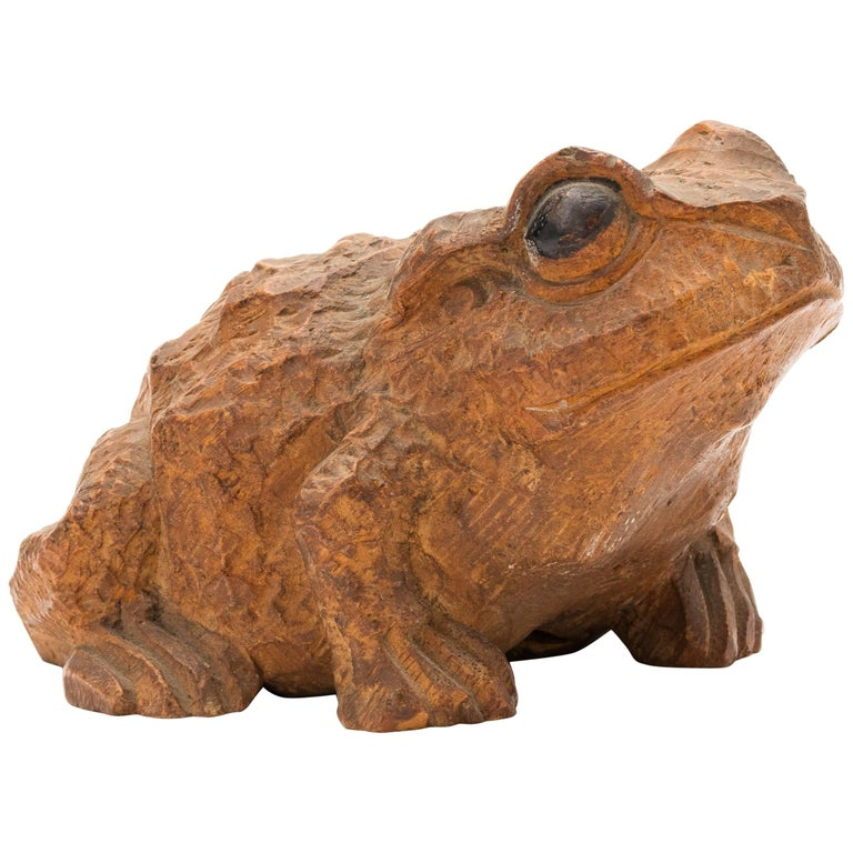 Antique Japanese Carved Bamboo Toad, 19th Century