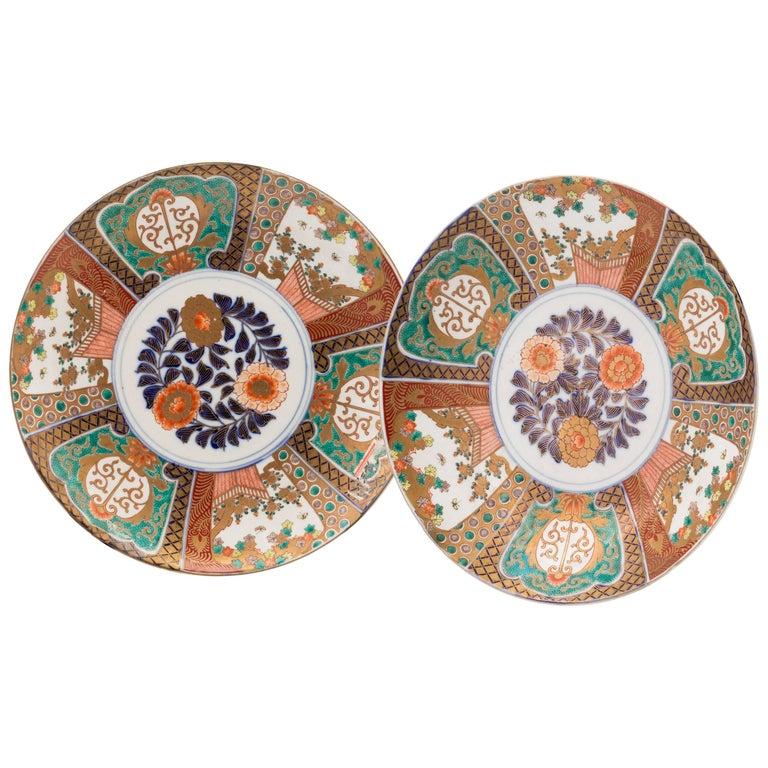 Antique Japanese Pair of Imari Plates, Meiji Period, circa 1900 For Sale