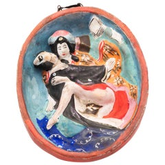 Antique Japanese Ceramic Wall Hanging with Erotic Underside, Meiji Period
