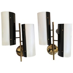 Stilnovo Stamped Large Pair of Gilded and Black Metal with Perspex Sconces 1950s