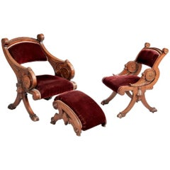 Two Renaissance Revival Chairs and a Foot Stool