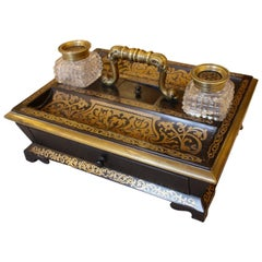 A Mid 19th Century Ebony and Boulle Inkwell Desk Stand