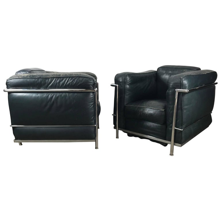 Pair of Le Corbusier LC-2 Style Leather Lounge Chairs, 1980s, Italy