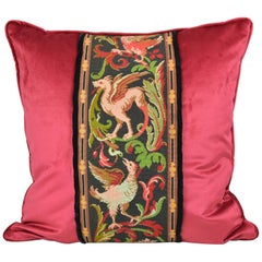 "Tapestry Pillow Griffin Phoenix Red 22"" Square"