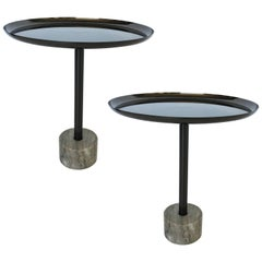 Pair of Minimalist Metal and Marble Petite Side Tables