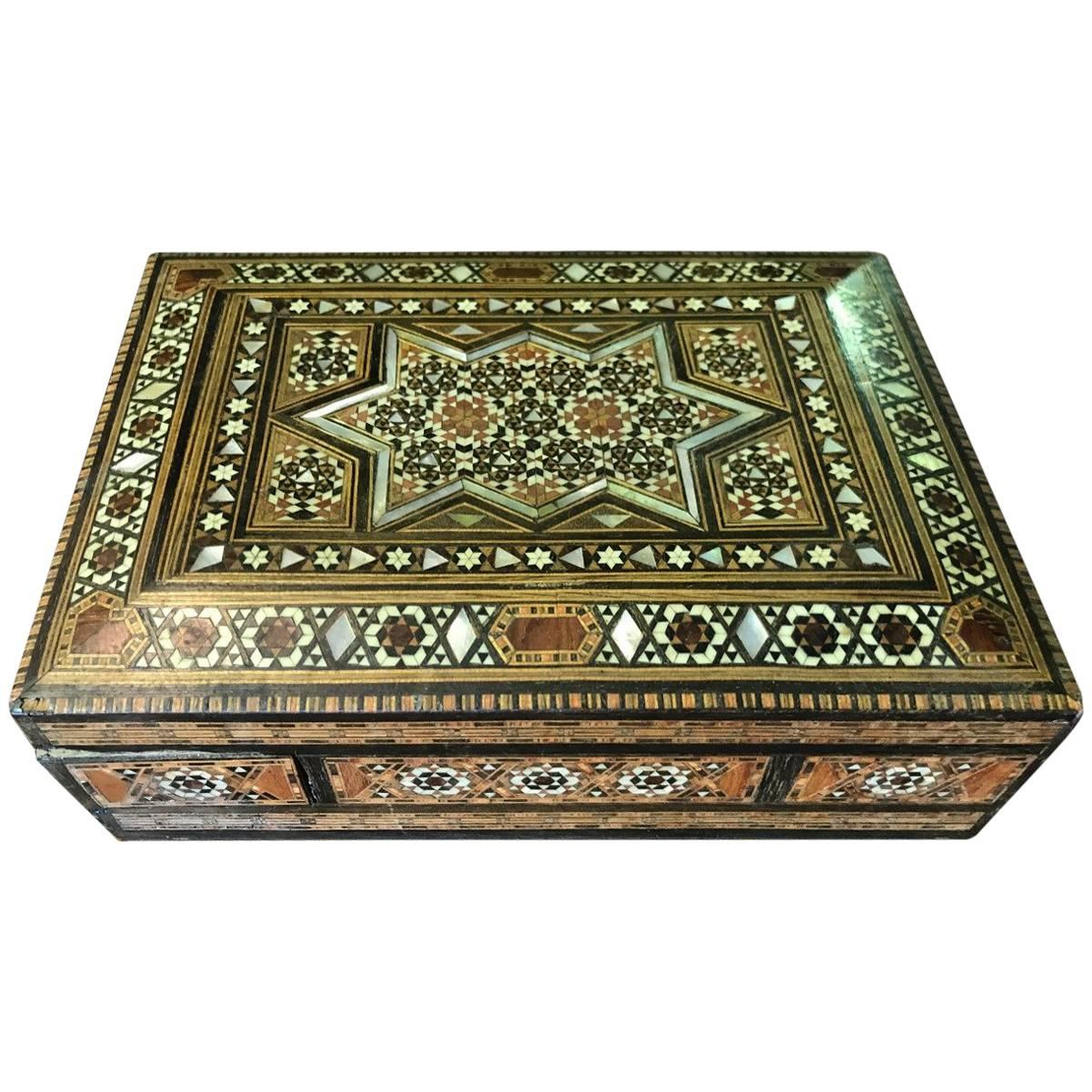 Syrian Inlaid Mosaic Secret Jewelry Box For Sale at 1stdibs