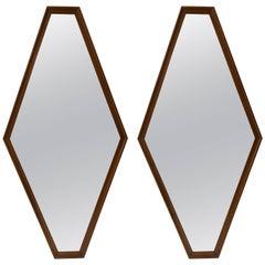 Pair of Walnut Diamond Mirrors