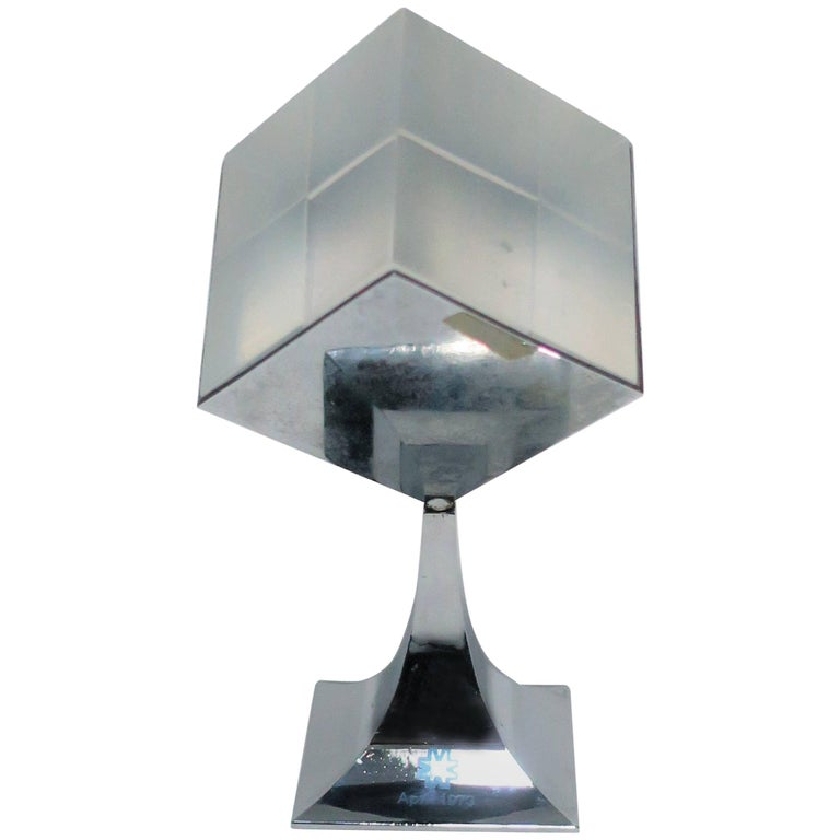 1970s Modern Chrome and Lucite Sculpture