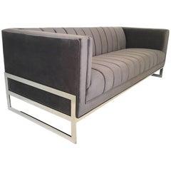 Mid-Century Modern Channel Design Floating Flat Bar Chrome Frame Sofa