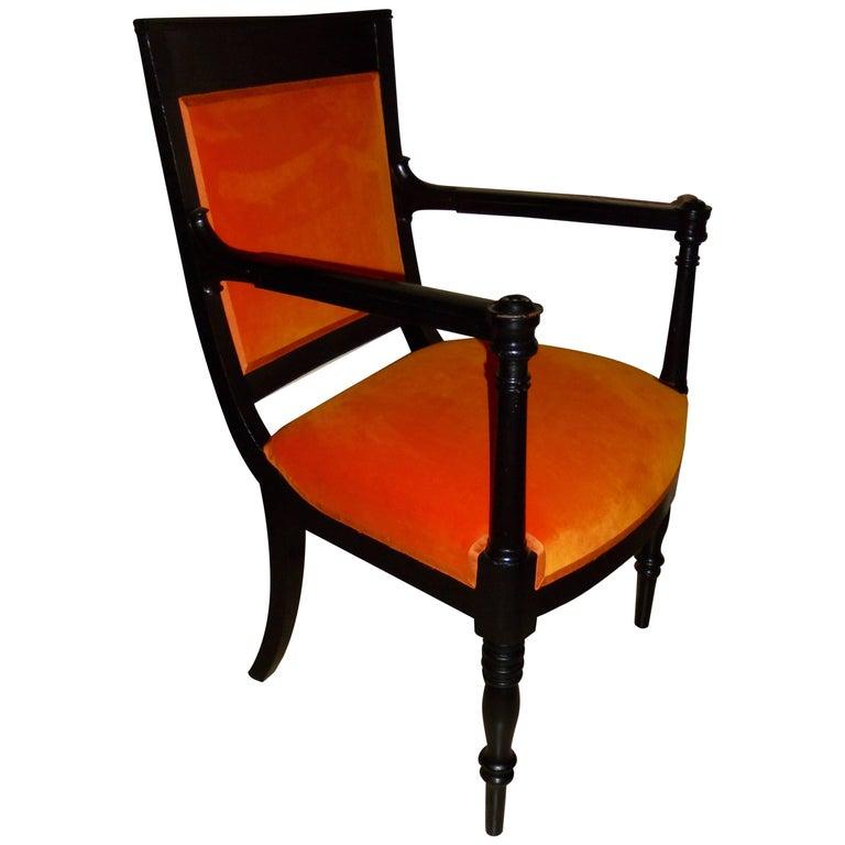 Elegant Black Lacquer and Orange Velvet Klismos Armchair