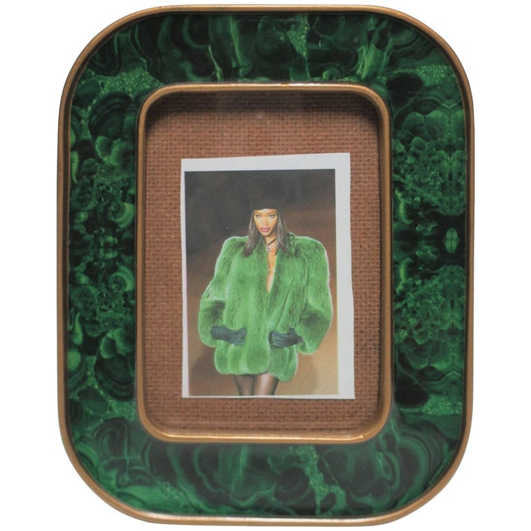 1970s Modern Green Malachite Lacquer and Brass Picture Frame
