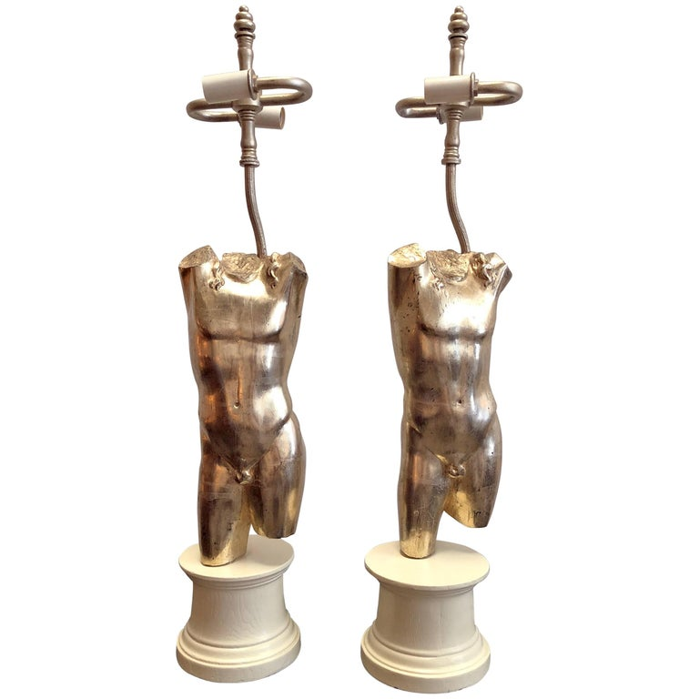 Pair of Male Torso Lamps For Sale