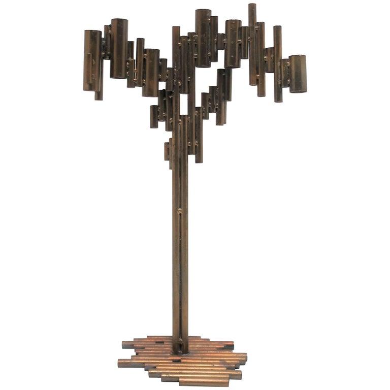 Modern Metal Art Deco Style Sculpture or Candelabra