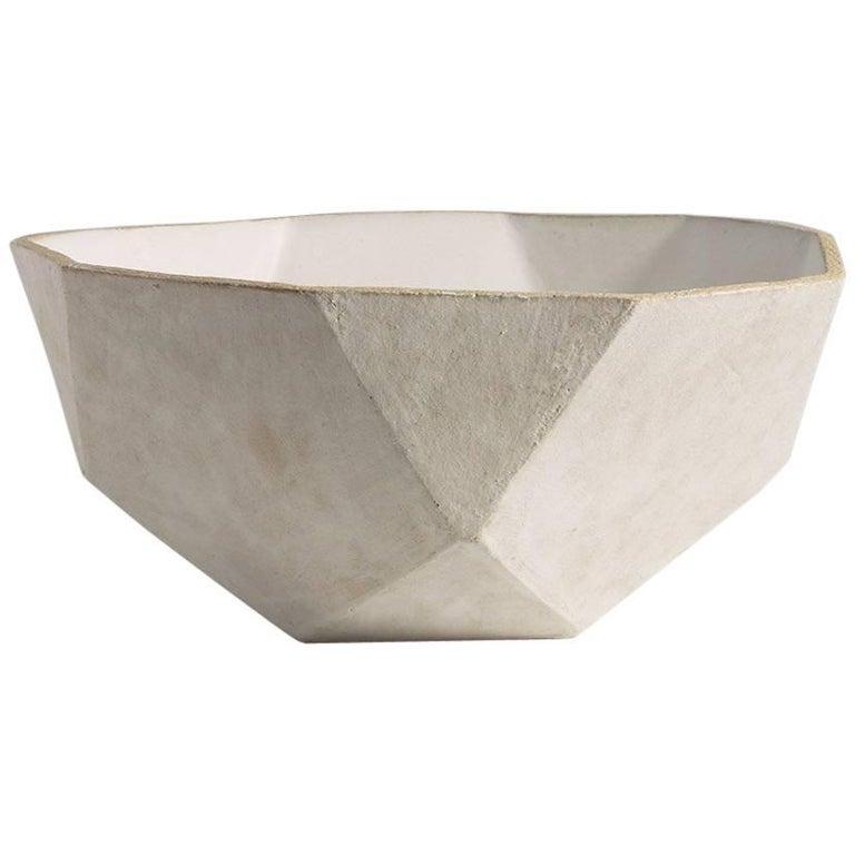 'Geode' Geometric White Ceramic Large Bowl For Sale
