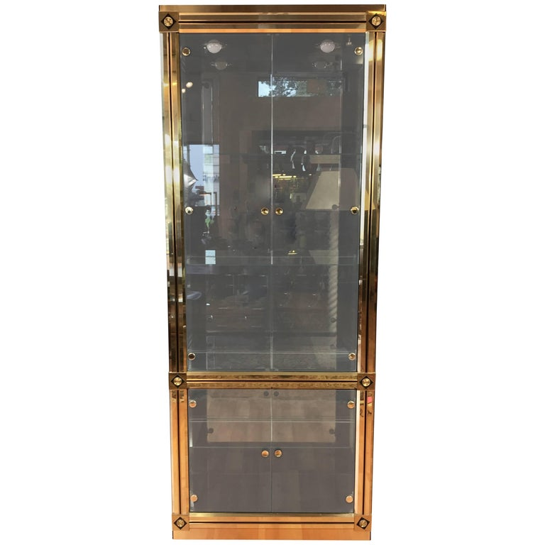 Mastercraft Towering Brass and Glass Vitrine