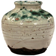 Awaji Pottery Japanese Studio Manipulated Jar with Crawling Lava Glaze Vase