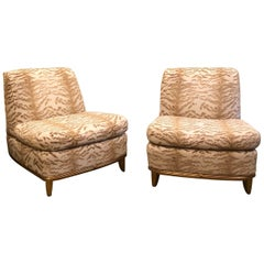 Pair of Deco Style Giltwood Slipper Lounge Chairs