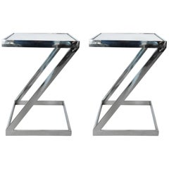 Pair of Milo Baughman Style Chrome and Marble Z Shaped End Tables