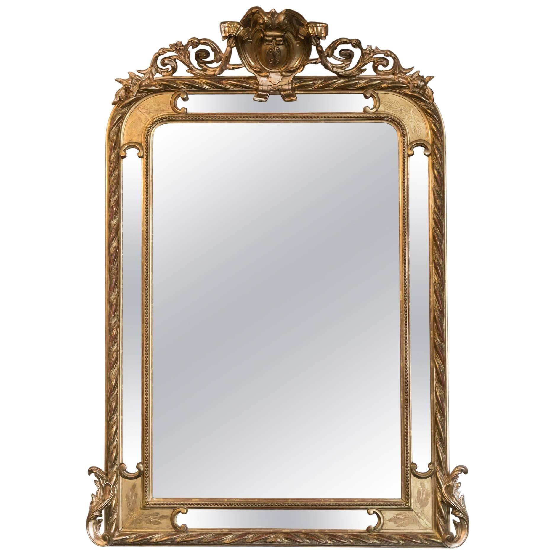 19th Century French Napoleon III Period Giltwood Pareclose Mirror
