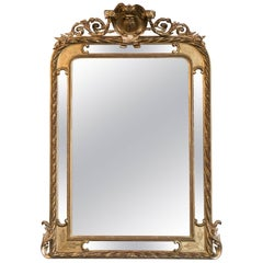 19th Century French Napoleon III Period Giltwood Pareclose Mirror