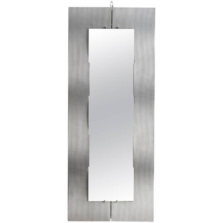 "Etched Aluminium ""Wave"" Full Length Mirror by Lorenzo Burchiellaro, 1970"