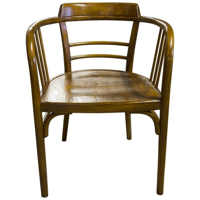 Antique Beech Armchair by Gustav Siegel for Thonet, 1907