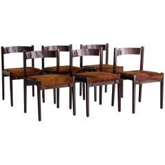 "Set of 6 Rosewood & Hide ""105"" Chairs by Gianfranco Frattini for Cassina, 1960"