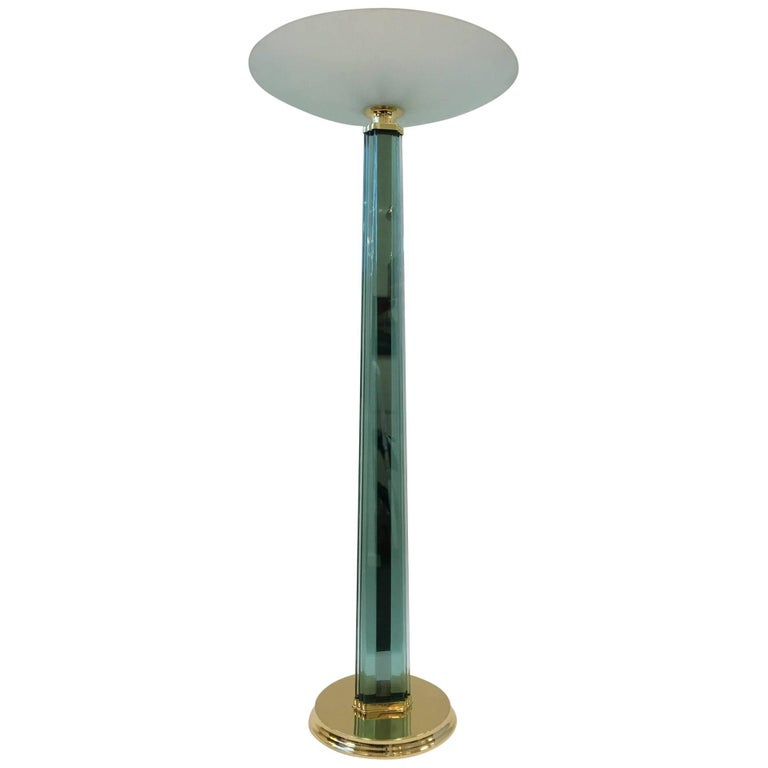 Italian Glass and Polished Brass Torchiere in the Style of Fontana Arte
